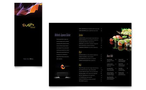 Sushi Restaurant Take-out Brochure Template Design