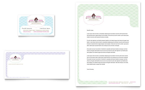 Bakery & Cupcake Shop Business Card & Letterhead Design Template