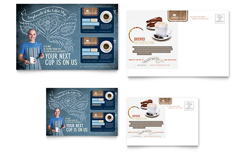 Coffee Shop Postcard Template Design