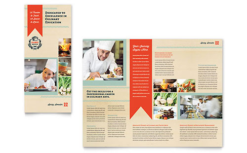 Culinary school brochure template design for Tri fold school brochure template