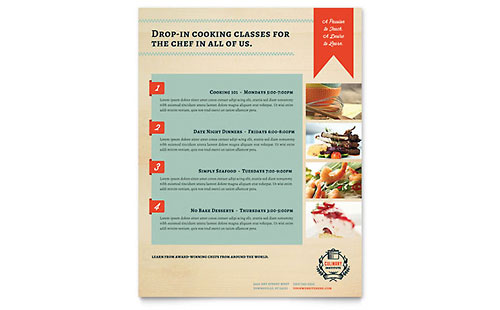 Culinary School Class Flyer Template Design
