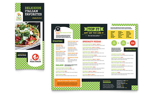 Pizza Parlor Take-out Brochure Design Template