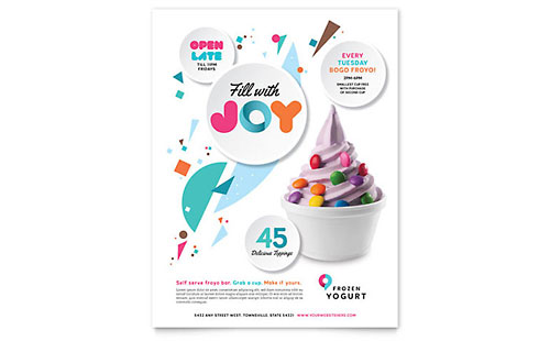 Frozen Yogurt Shop Flyer Template Design