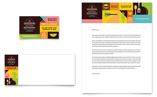 Mexican Restaurant Business Card & Letterhead Template Design