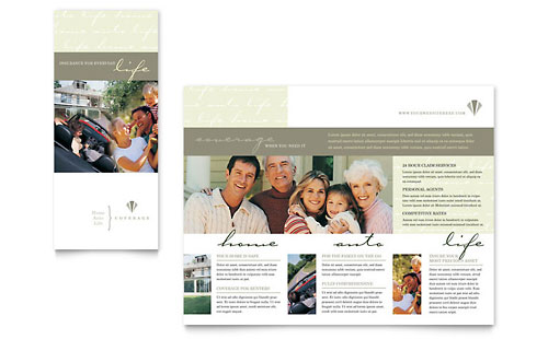 Life & Auto Insurance Company - Brochure Design Template