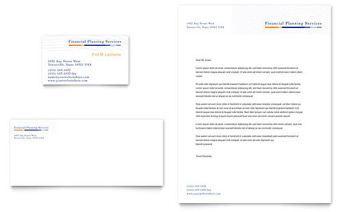 Financial Planning & Consulting Business Card & Letterhead Template Design