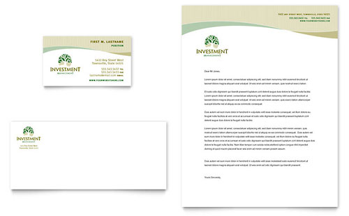 Investment Management Business Card & Letterhead Template Design