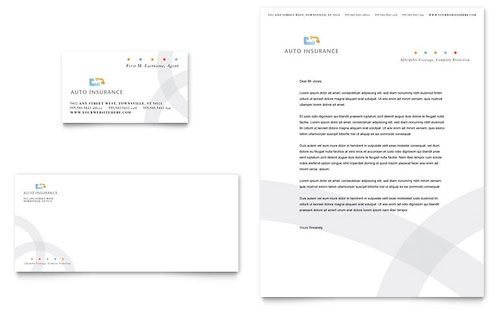 Car Insurance Company Business Card & Letterhead Template Design