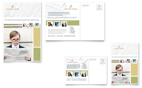 Investment Advisor Postcard Template Design