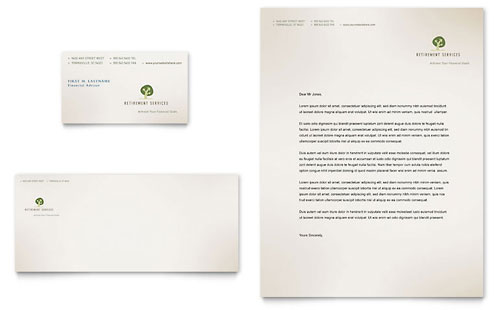 Retirement Investment Services Business Card & Letterhead Template Design