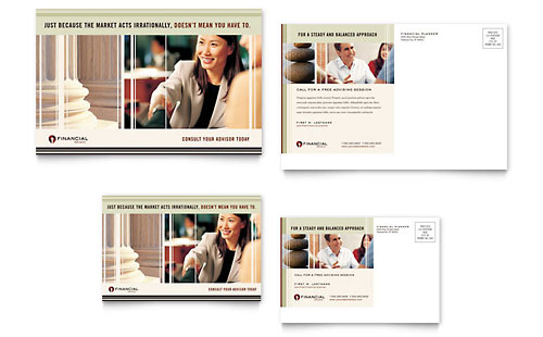 Financial Planner Postcard Template Design