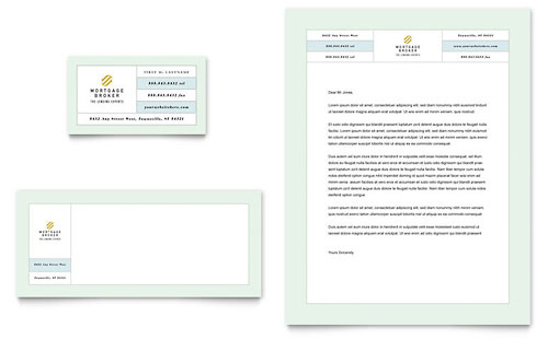 Mortgage Lenders Business Card & Letterhead Template Design