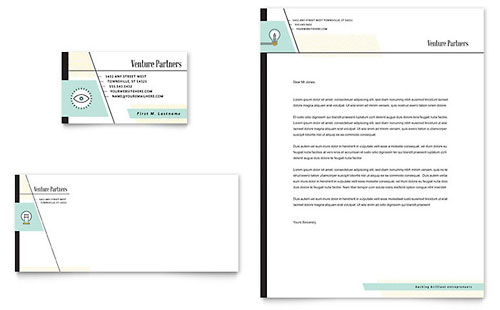 Venture Capital Firm Business Card & Letterhead Template Design