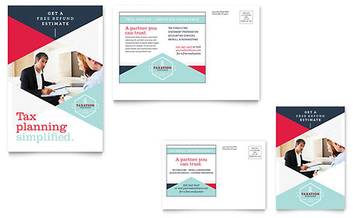 Tax Preparer Postcard Template Design