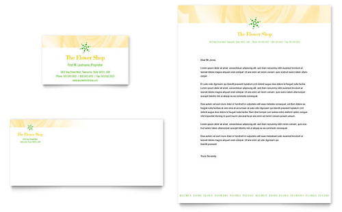 Florist Shop Business Card & Letterhead Template Design