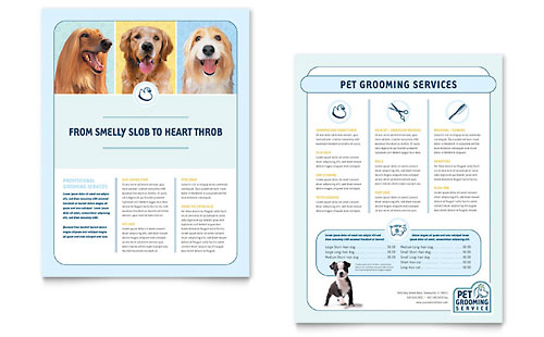 Pet Grooming Service Datasheet Template Design