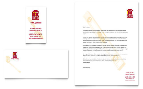 Home Builder & Contractor Business Card & Letterhead Template Design
