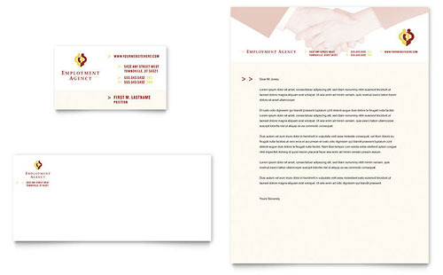 Employment Agency & Jobs Fair Business Card & Letterhead Template Design