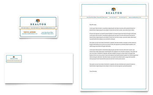 Real Estate Agent Business Card & Letterhead Template Design