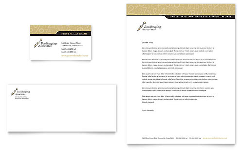 Bookkeeping & Accounting Services - Business Card & Letterhead Template Design