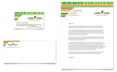 Lawn Care & Mowing - Business Card & Letterhead Template Design