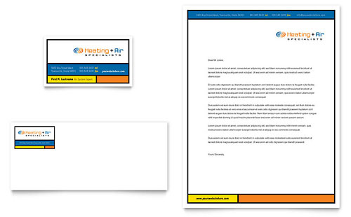 Heating & Air Conditioning Business Card & Letterhead Template Design