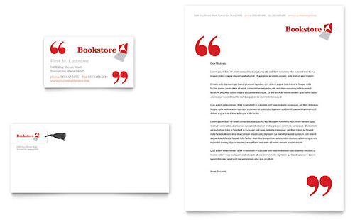 Bookstore & Library Business Card & Letterhead Template Design