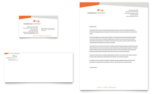 Commercial Real Estate Property Business Card & Letterhead Template Design