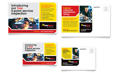 Auto Repair Postcard Template Design