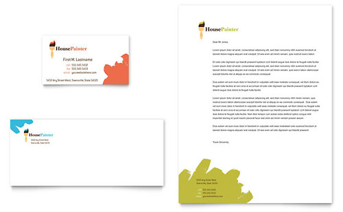 Painter & Painting Contractor - Business Card & Letterhead Template Design