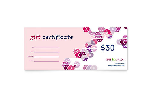 Nail Salon Gift Certificate Template Design
