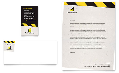 Industrial & Commercial Construction Business Card & Letterhead Template Design