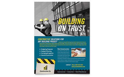 Industrial & Commercial Construction Flyer Template Design