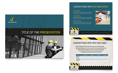 Industrial & Commercial Construction - PowerPoint Presentation Template Design