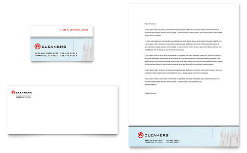 Laundry & Dry Cleaners Business Card & Letterhead Template Design