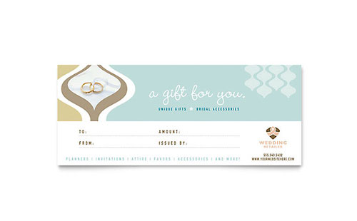 Wedding Store & Supplies Gift Certificate Template Design