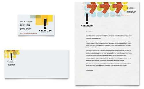 Marketing Consultant Business Card & Letterhead Template Design