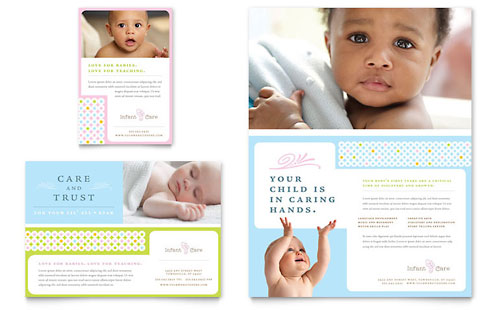 Infant Care & Babysitting Flyer & Ad Template Design