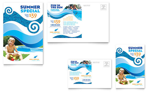 Swimming pool cleaning service flyer ad template design for Pool design templates