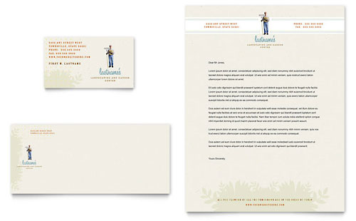 Landscape & Garden Store Business Card & Letterhead Template Design