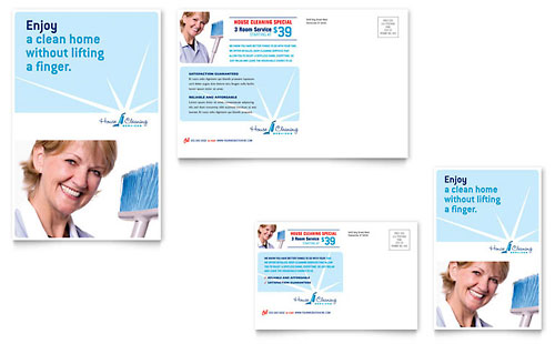 House Cleaning & Housekeeping Postcard Template Design