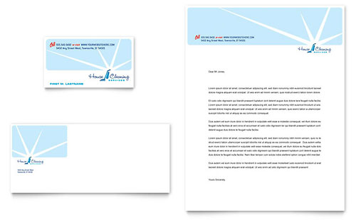 House Cleaning & Housekeeping - Business Card & Letterhead Template Design