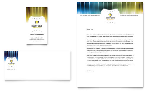 Security Guard Business Card & Letterhead Template Design
