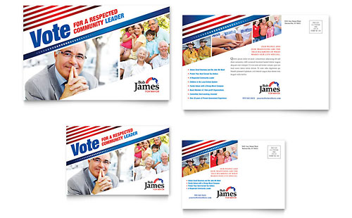 Political Campaign Postcard Template Design