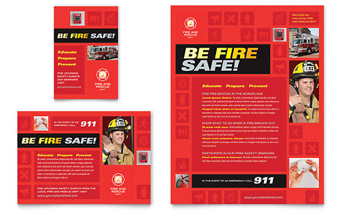 Fire Safety Flyer & Ad Template Design