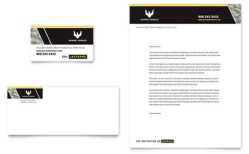 Military Business Card & Letterhead Template Design