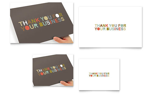 Thank You for Your Business - Note Card Template Design