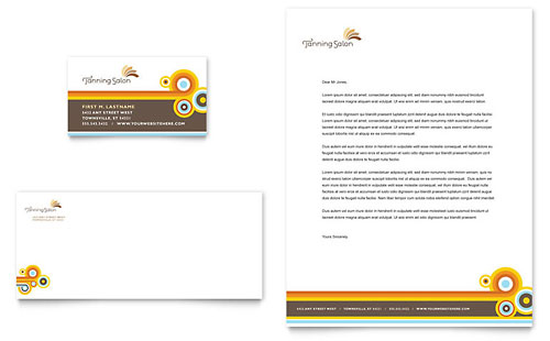 Tanning Salon Business Card & Letterhead Template Design