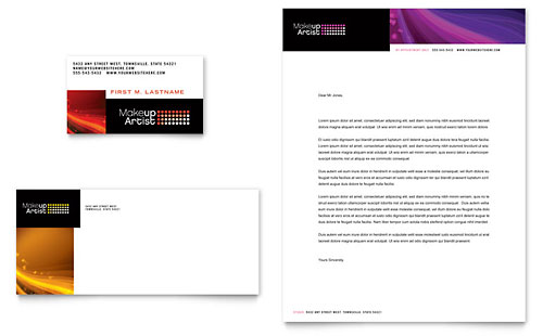Makeup Artist Business Card & Letterhead Template Design