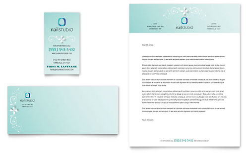 Nail Technician Business Card & Letterhead Template Design